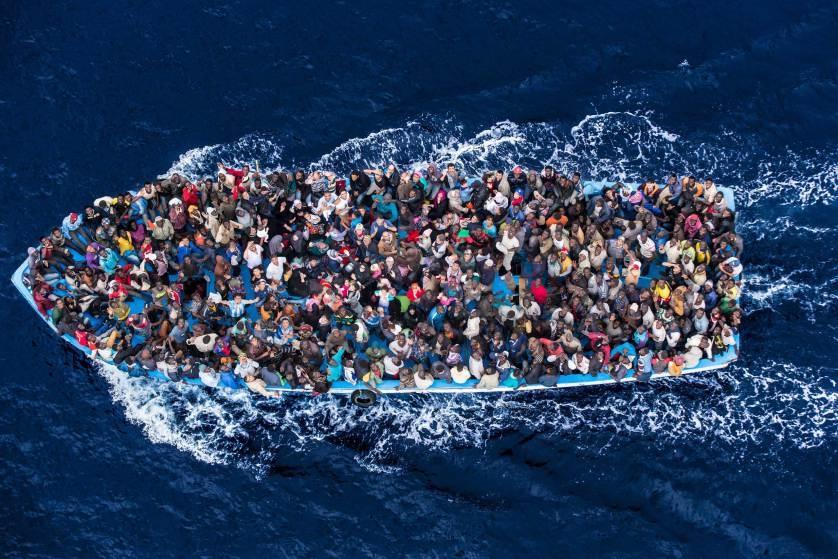 Vluchtelingenboot op de Middellandse Zee, 7 juni 2014